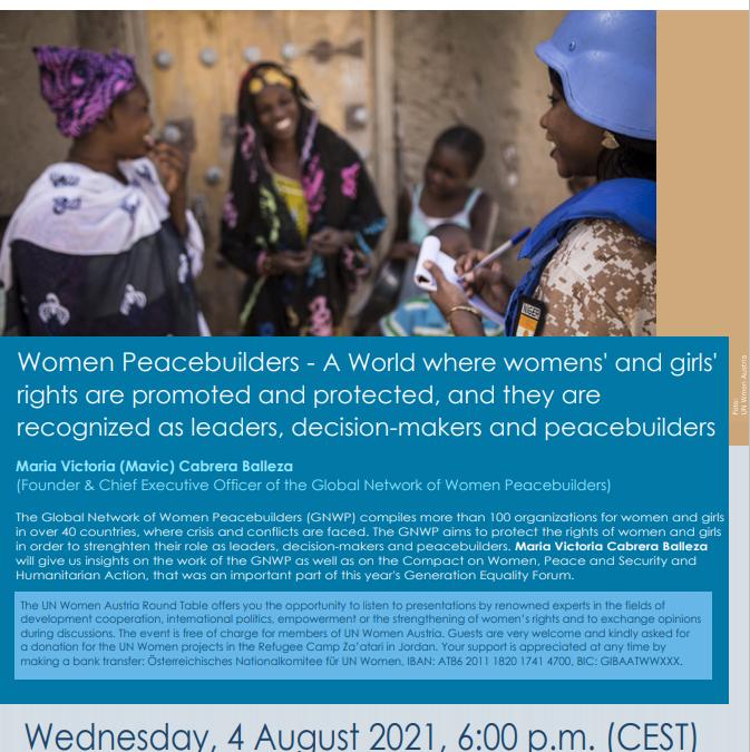 """Nachlese zum Round Table """"Women Peacebuilders"""""""